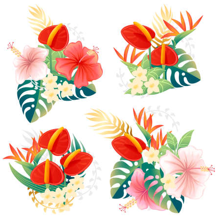 Set of decorative bouquet flowers red anthurium floral element for garden or flower pot flat vector illustration isolated on white background. Çizim