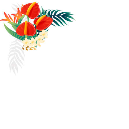 Decorative bouquet flowers red anthurium floral element for garden or flower pot flat vector illustration isolated on white background. Çizim