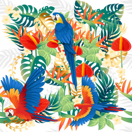 Seamless pattern cute Ara parrot sit with green leaves cartoon animal design flat vector illustration on white background.