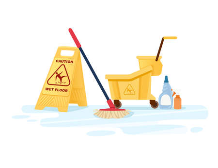 Group of cleaning tools wet floor sign mop bucket and chemical cleaning supplies flat vector illustration on white background