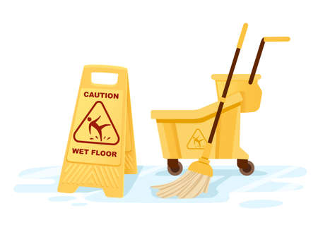 Group of cleaning tools wet floor sign mop bucket cleaning supplies flat vector illustration on white background
