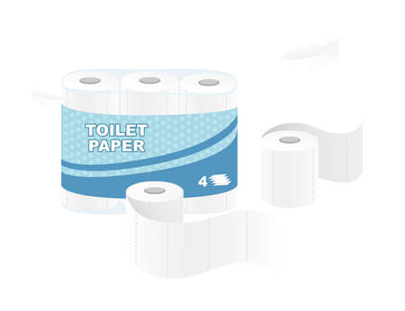 White roll disposable toilet paper pack design paper roll package with soft layers flat vector illustration isolated on white background