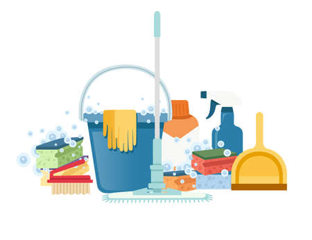 Bucket with foam sponges and chemical bottles cleaning tools households equipment flat vector illustration on white background Çizim