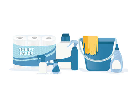 Collection of household items for cleaning and housekeeping flat vector illustration on white background
