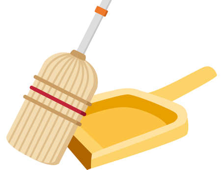 Broom and scoop household cleaning utensil plastic modern home tools flat vector illustration on white background Çizim