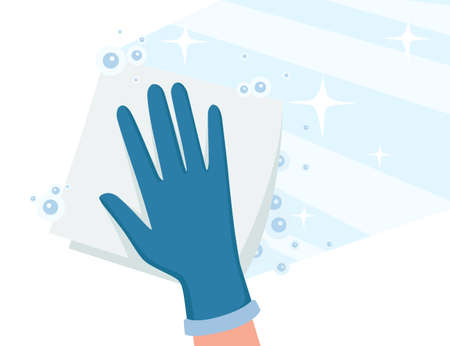 Cleaning home microfiber rag wipe on floor with chemical water and bubbles flat vector illustration on white background
