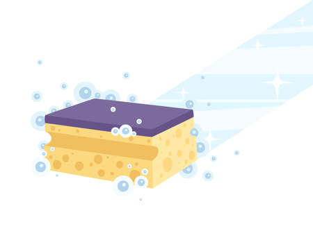 Cleaning home foam sponge wipe on floor with chemical water and bubbles flat vector illustration on white background