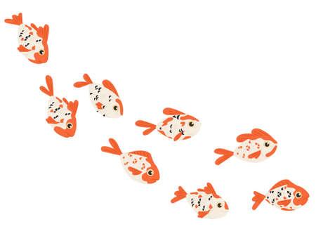 Set of sea exotic fishes flat vector illustration isolated on white background
