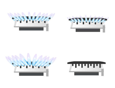 Set of four gas stove kitchen burner off low mid and high level of gas flat vector illustration isolated on white background