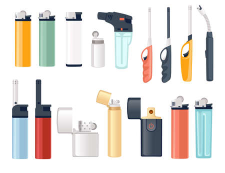 Set of metal and plastic lighter for kitchen or cigarette gas lighter smoker accessory flat vector illustration isolated on white background Vecteurs