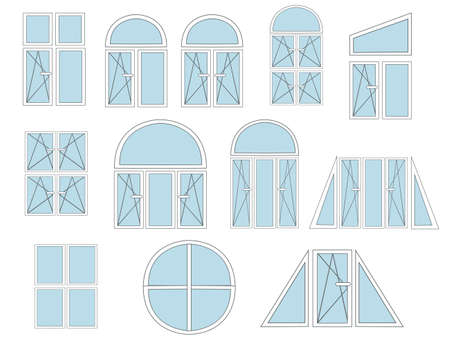 Set of flat metal-plastic windows white color and open close scheme flat vector illustration isolated on white background Çizim