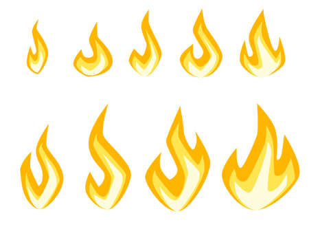 Set of fire icons different fire power ready for animation sprites flat vector illustration isolated on white background