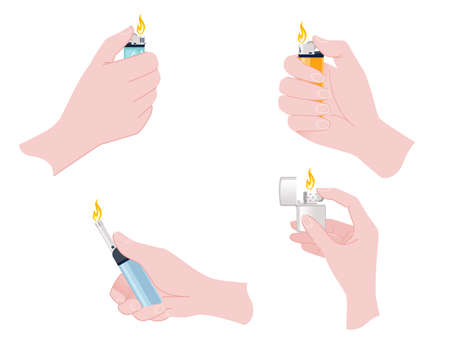 Hand hold and use metal and plastic lighter for kitchen or cigarette gas lighter smoker accessory flat vector illustration isolated on white background