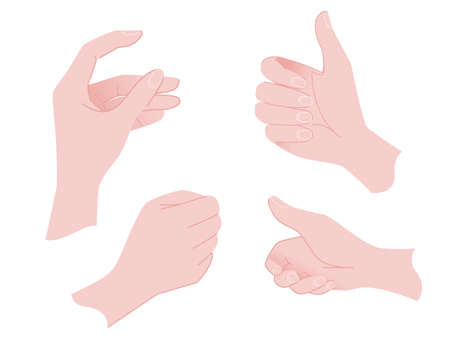 Various gestures of human hands hold template flat vector illustration isolated on white background