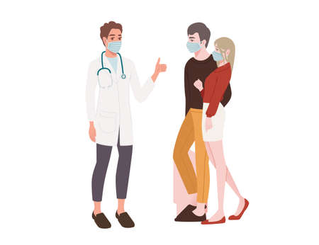 Couple visit a doctor young people wearing surgical mask social distance and safety cartoon character design flat vector illustration isolated on white background