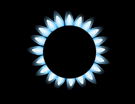 Top view on gas stove burner gas blue flame flat vector illustration on black background Illusztráció