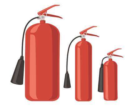 Set of different size fire extinguisher fire-fighting equipment flat vector illustration on white background