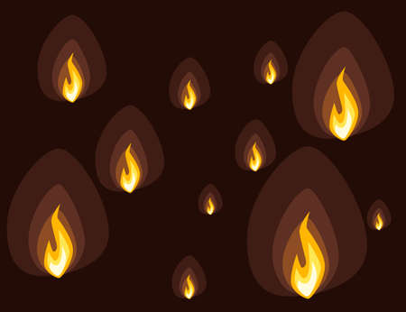 Set of fire icons different fire power ready for animation sprites flat vector illustration on brown background