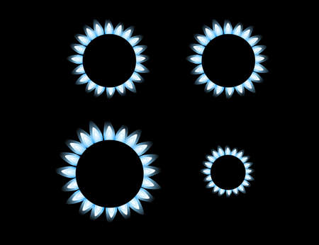 Set of four gas stove kitchen burner low mid and high level of gas flat vector illustration isolated on black background