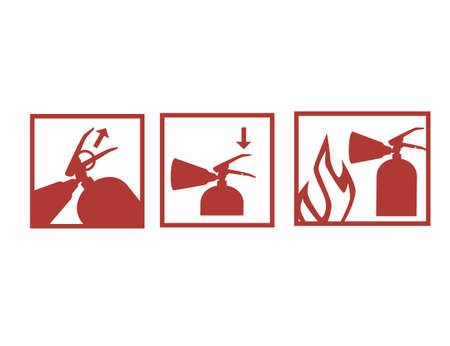 Guide how to use fire extinguisher red icon silhouette manual flat vector illustration isolated on white background