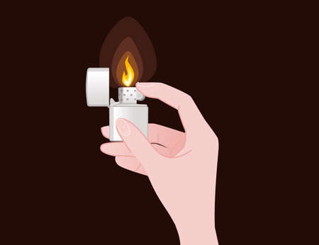 Hand hold and use metal and plastic lighter for kitchen or cigarette gas lighter smoker accessory flat vector illustration isolated on brown background Çizim