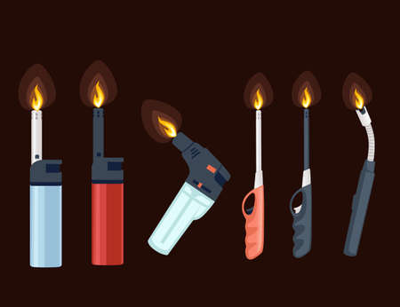 Set of metal and plastic lighter for kitchen or cigarette gas lighter smoker accessory flat vector illustration isolated on brown background