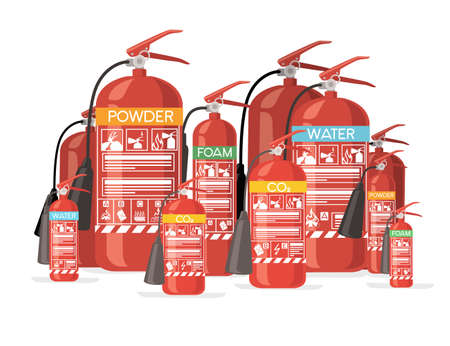 Big set of different size and type fire extinguisher with safe labels simple tips how to use icons flat vector illustration on white background