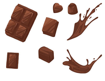 Set of chocolate bar pieces and melted chocolate flowing sweet dessert flat vector illustration isolated on white background