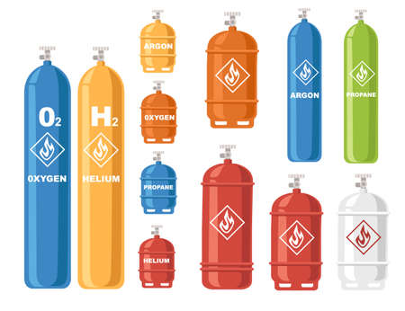 Set of different color shapes and gas tanks gas cylinders with liquefied compressed gases with high pressure and valves flat vector illustration isolated on white background Çizim