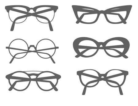 Set of different modern eye glasses flat vector illustration isolated on white background