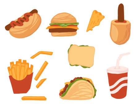 Set of fast food takeaway tasty but unhealthy food flat vector illustration isolated on white background. 矢量图像