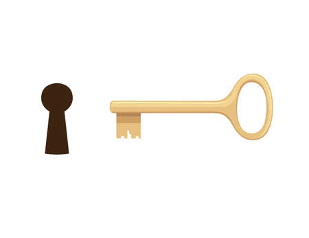 Keyhole with golden key flat vector illustration on white background.