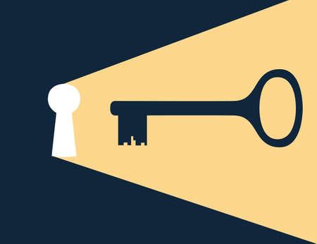 Keyhole with golden key flat vector illustration on dark background.