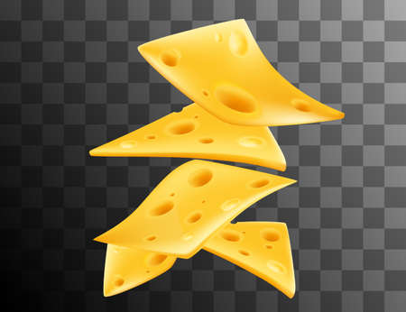 Pieces of cheese in the air realism style vector illustration on transparent background.