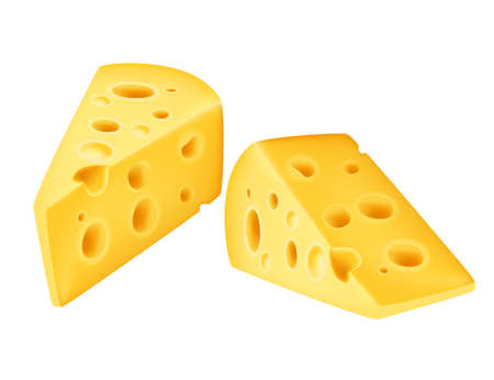 Two big triangle pieces of cheese realism style vector illustration on white background.