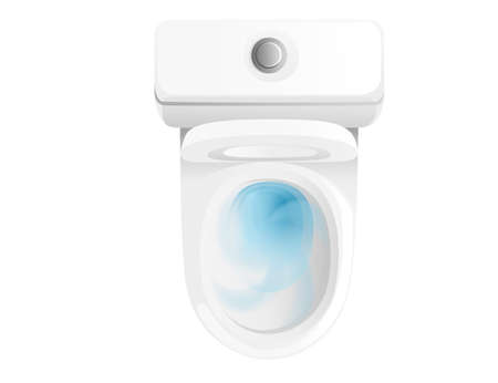 White ceramic toilet bowl with water top view realistic vector illustration.