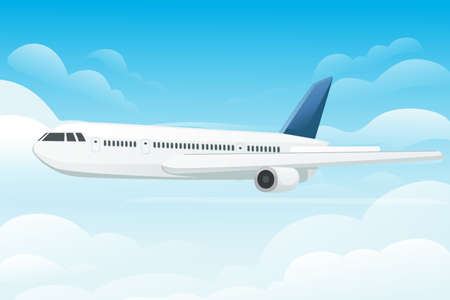 Big white passenger airplane turbine jet plane in blue sunny sky flat vector illustration. 矢量图像