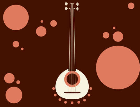 National slavs musical instrument with four string wooden instrument flat vector illustration. Иллюстрация