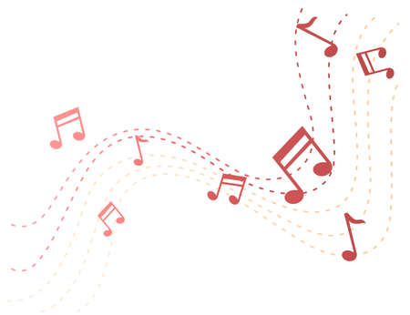 Musical notes flowing in air on dotted road flat vector illustration.