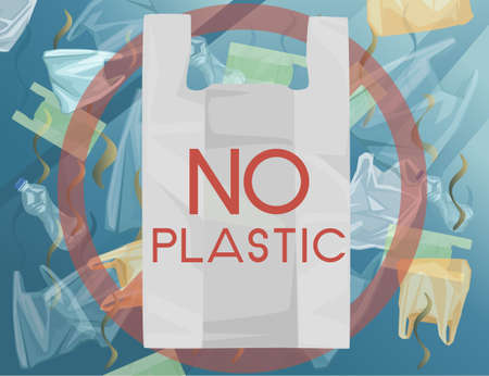 Plastic bags and plastic bottles waste in the ocean water NO PLASTIC sign flat vector illustration