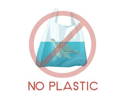 Turtle in plastic bag abstract illustration NO PLASTIC sign pollution problem flat vector illustration on white background