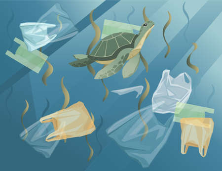 Ocean with polluted water plastic bags and bottles turtle in dirty water flat vector illustration