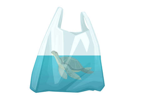 Turtle in plastic bag abstract illustration pollution problem flat vector illustration on white background 矢量图像