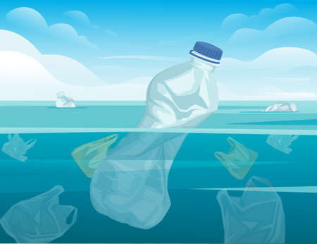 Crumpled plastic bottle and plastic bags in water ecology disaster plastic problem flat vector illustration with ocean and sky background
