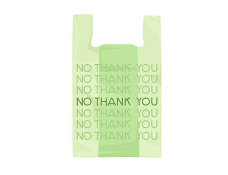 Green plastic bag with NO THANK YOU sign ecology problem disaster flat vector illustration on white background
