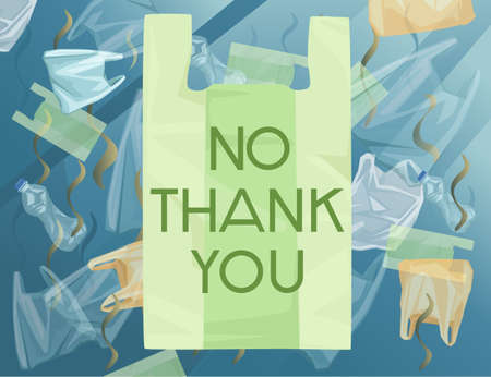 Green plastic bag with NO THANK YOU sign ocean with polluted water plastic bags and bottles ecology problem disaster flat vector illustration