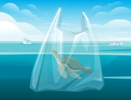 Turtle in plastic bag abstract illustration pollution problem flat vector illustration ocean and sky on background