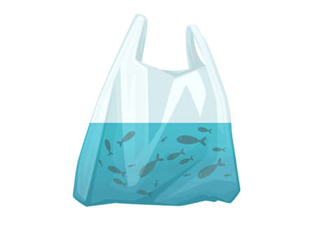 Fish in plastic bag abstract illustration pollution problem flat vector illustration on white background