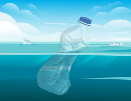 Crumpled plastic bottle in water ecology disaster plastic problem flat vector illustration with ocean and sky background Иллюстрация