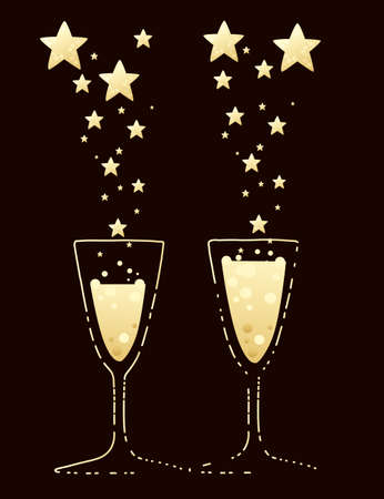 Two champagne flutes narrow glasses filled with champagne flat vector illustration on brown background